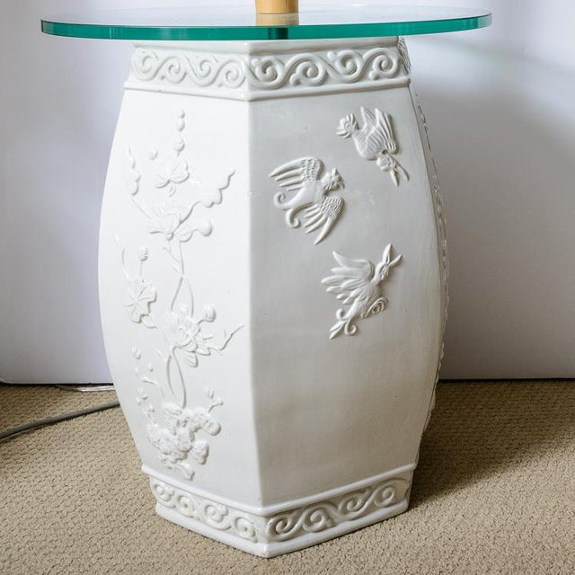 Asian Custom White Garden Stool & Bamboo Floor Lamps - A Pair For Sale - Image 3 of 11