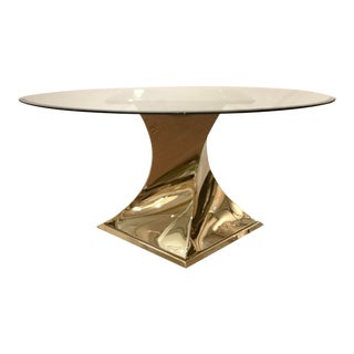 Caracole Modern Do a 360 Brass and Glass Dining Table For Sale