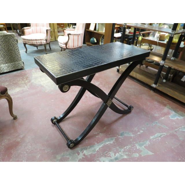 1990s Neoclassical Maitland-Smith X Base Bar Table/Console Table For Sale In Chicago - Image 6 of 9