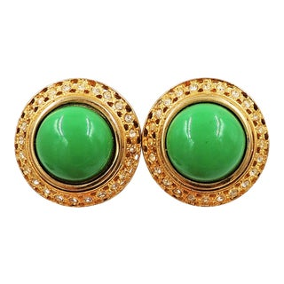 1980s Valentino Goldtone Green Cabochon Earrings For Sale