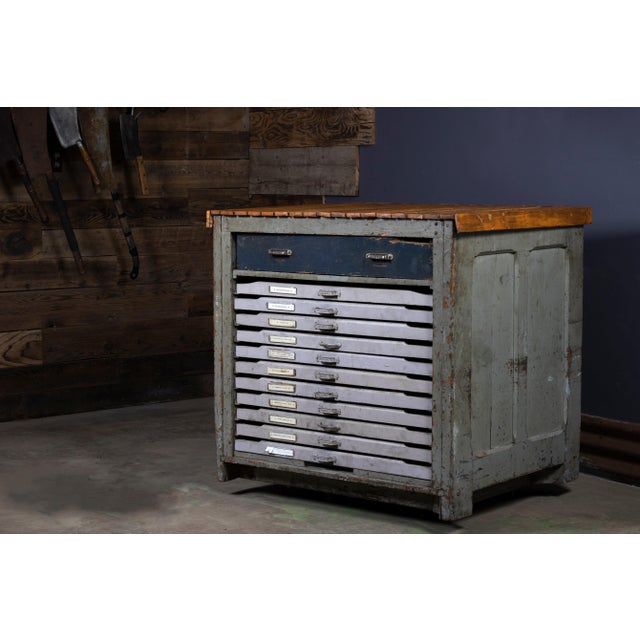 1920s Industrial Hamilton Flat File Printers Cabinet For Sale - Image 9 of 11