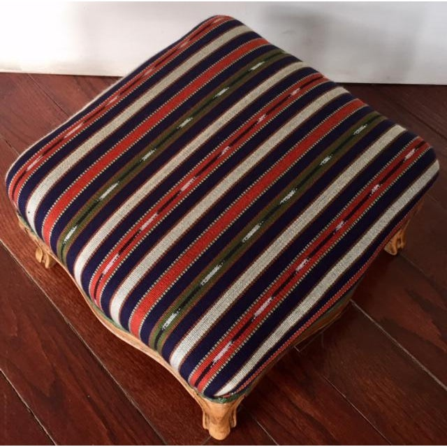 19th Century Vintage French Wood and Striped Fabric Footstool For Sale - Image 4 of 9