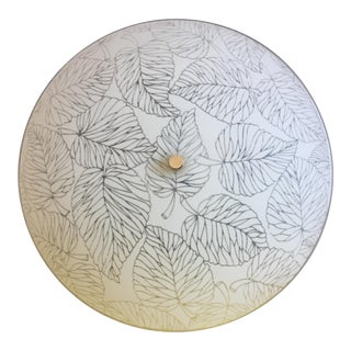 1950s Frosted Glass Leaves Flush Light For Sale