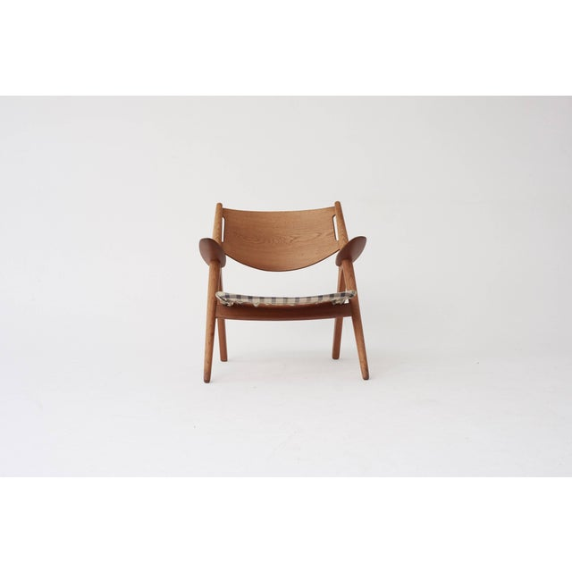 Mid 20th Century Hans Wegner Ch28 Oak Sawbuck Armchair, 1950s, Denmark For Sale - Image 5 of 8
