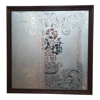 Antique Etched Glass Mirror Plaque