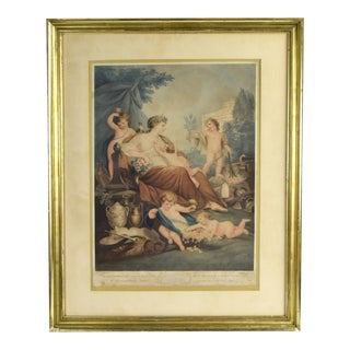 "1799 Hand Colored Allegorical Engraving ""Happiness"" by Burke After Rigaud For Sale"