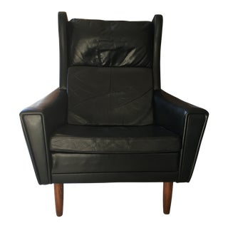 Black Leather Danish Mid-Century Wingback Chair