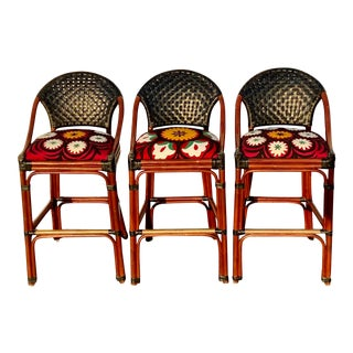 Palecek Suzani Upholstered Rattan and Woven Leather Barstools - Set of 3 For Sale