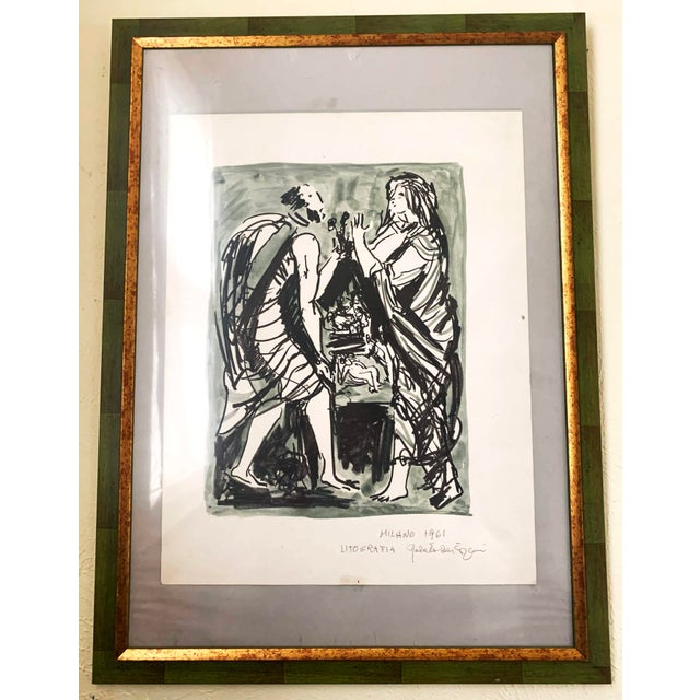 Italian Framed Watercolor Ink Sketch Painting of a Roman Man and Woman Wearing Togas, C 1961. Sketch is wonderful and...