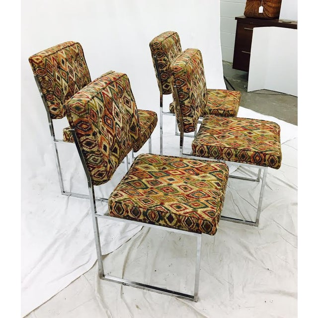 Vintage Mid-Century Modern Chrome Frame Chairs - Set of 4 For Sale In Raleigh - Image 6 of 11