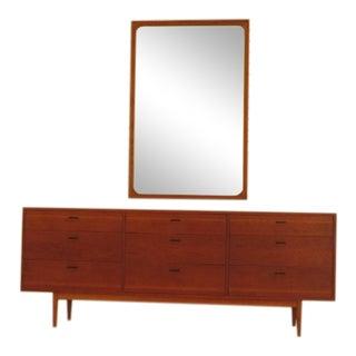 1960s Vintage Danish Mid-Century Modern Modern Dresser & Mirror - 2 Pieces For Sale