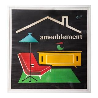 """Vintage """"Amueblement"""" French Modernist Furnishings Poster, Framed For Sale"""