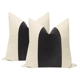 "22"" Graphite Velvet Panel & Linen Pillows - a Pair For Sale"