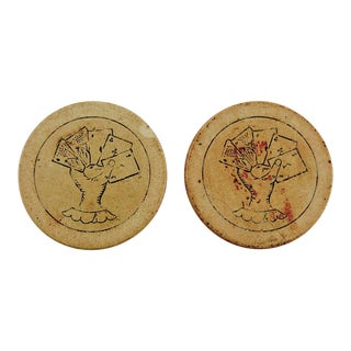 Antique Clay Poker Chips Engraved Poker Hand - Set of 2 For Sale