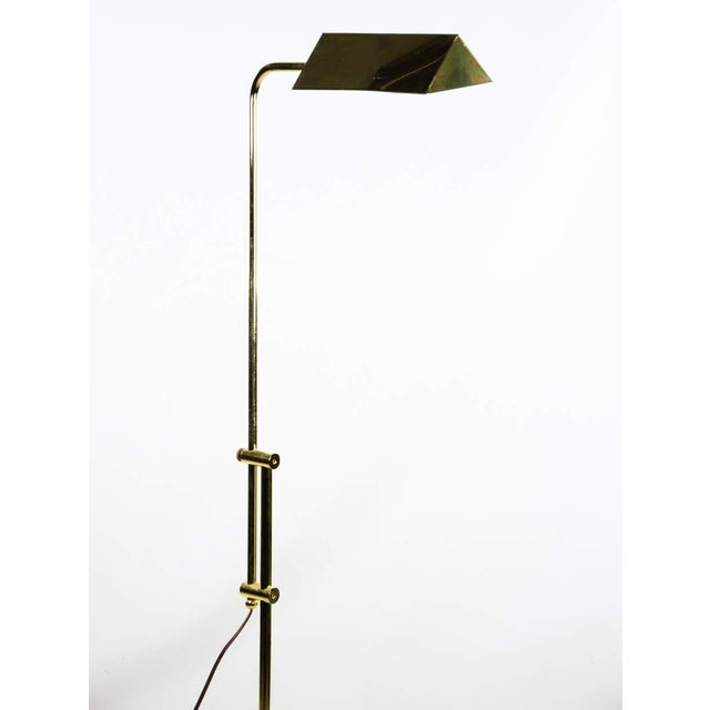 2000 - 2009 Mid Century Modern Style Brass Adjustable Reading Floor Lamp For Sale - Image 5 of 13