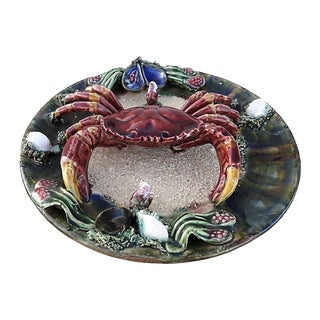Vintage French/Portugese Palissy Style Majolica Crab Plate For Sale