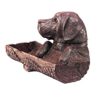 Rustic Black Forest Walnut Carved Dog Pen Holder For Sale