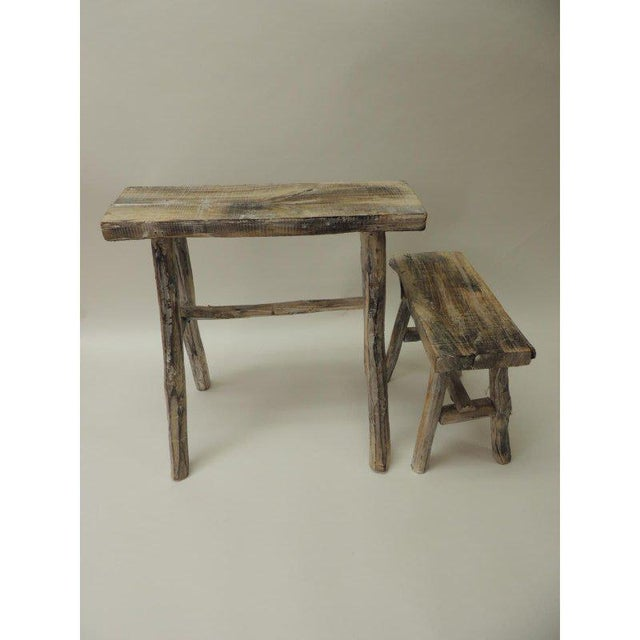 1970s Vintage Asian White Washed Rubbed Wood Painted Artisanal Side Tables - A Pair For Sale - Image 5 of 8