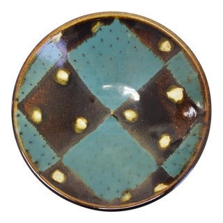 20th Century Contemporary Turquoise and Brown Ceramic Decorative Bowl For Sale