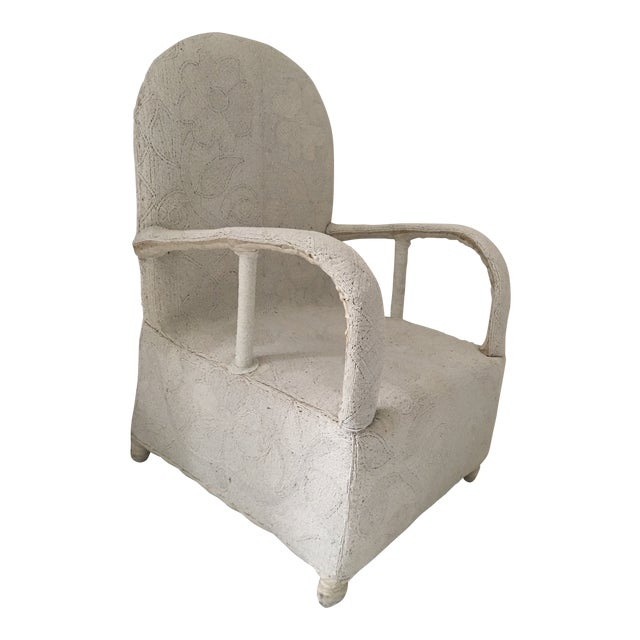 "1980s African White Beaded ""Nobility Chair"" For Sale"