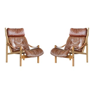 1960s Norway Easy Chairs Model Hunter by Torbjørn Afdal for Bruksbo - a Pair For Sale