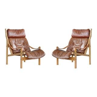 Pair of 1960s Easy Chairs Model Hunter by Torbjørn Afdal for Bruksbo, Norway For Sale