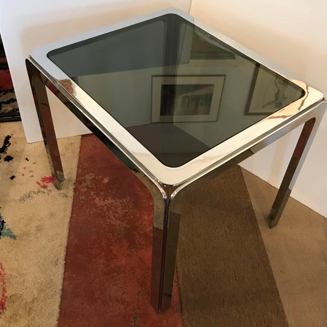 1970s 1970s Hollywood Regency Nickel Plated Steel Table With Smoked Glass Insert Top For Sale - Image 5 of 9