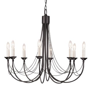 Carisbrooke Gothic Eight Light Black Steel Chandelier For Sale