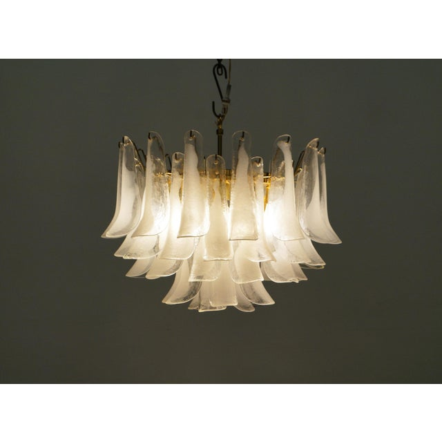 """Vintage murano """"Petal"""" chandelier by Mazzega. Made in Italy. Features 47 unique hand blown petals suspended on 4 tiered..."""