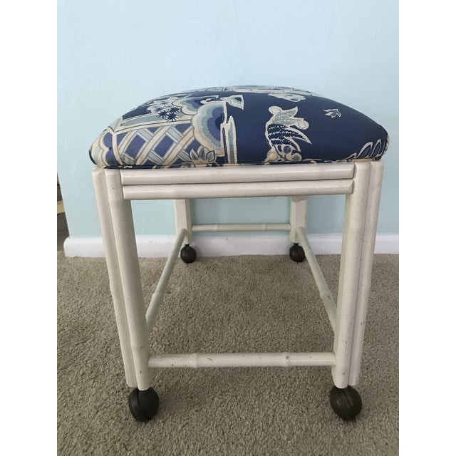Vintage Drexel Faux Bamboo Vanity Stool For Sale - Image 6 of 9