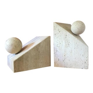 Post Modern Italian Travertine Sculptural Coffee and Side Table Bases For Sale