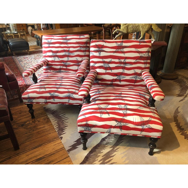 Red White and Blue Upholstered Club Chairs- a Pair For Sale - Image 13 of 13