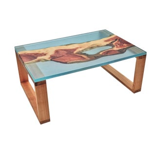 Organic Modern Live Edge Resin Coffee Table For Sale