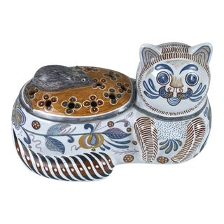 Portugal Pottery Lidded Cat Mouse Container For Sale