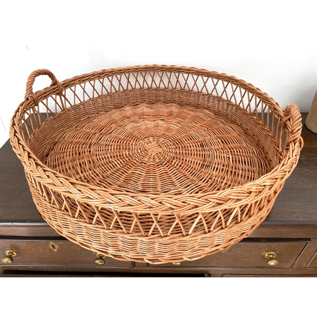 Large Wicker Tray Basket For Sale - Image 4 of 4