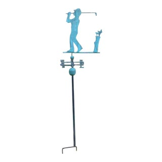 Vintage Copper Weathervane Golfer on Garden Stand For Sale