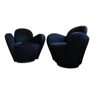 Vladimir Kagan Black Suede Swivel Chairs - a Pair For Sale