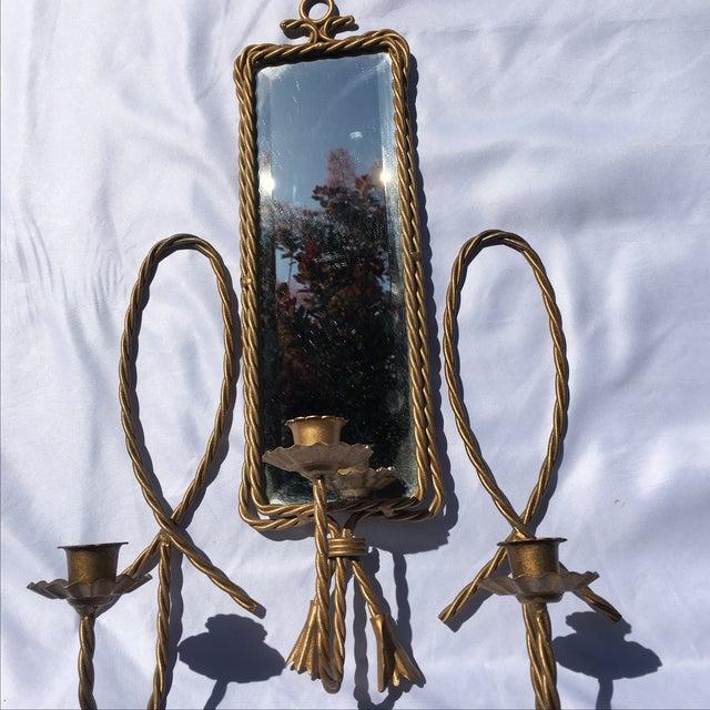 Vintage Hollywood Regency Brass Candle Sconces - Image 6 of 6