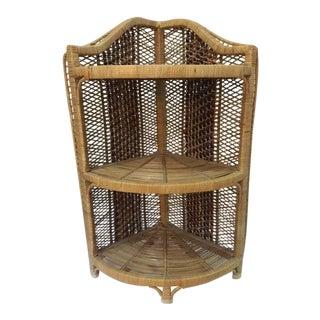1970s Boho Chic Rattan Bookcase Stand 3-Tier Corner Shelf For Sale