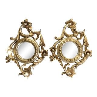 Italian Baroque Silver Leaf Gilt Wall Mirrors- a Pair For Sale