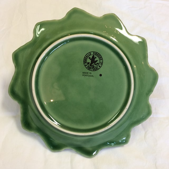 Figurative Bordallo Pinheiro Green Majolica Cabbage Leaf With Bunnies Plates - Set of 4 For Sale - Image 3 of 7