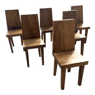 Vintage Mid-Century Nakashima Style Solid Wood Plank Chairs- Set of 6 For Sale