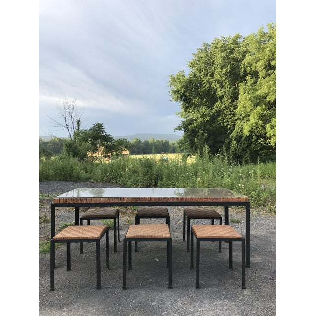 Danny Ho Fong Danny Ho Fong Iron and Reed Dining Table With Six Stools for Tropi-Cal For Sale - Image 4 of 13