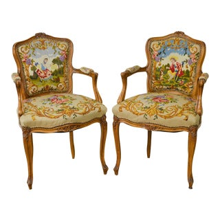 French Louis XV Style Custom Needlepoint Arm Chairs - A Pair