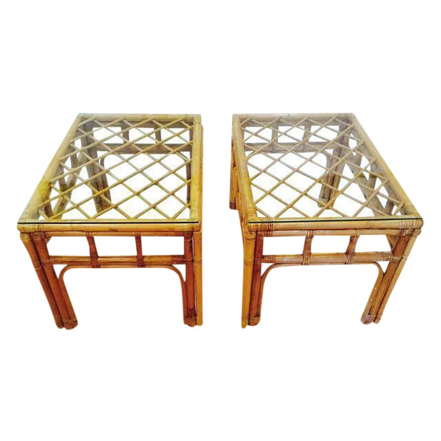 Vintage Bamboo Fretwork End Tables Glass Top Set - a Pair - Image 1 of 7