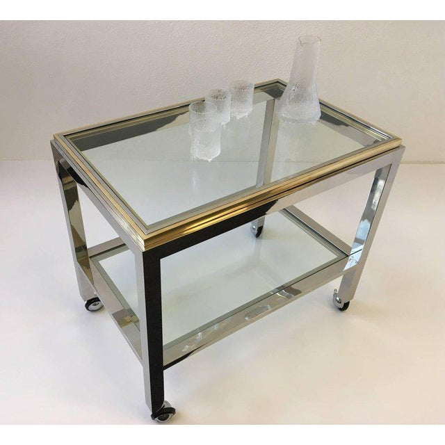 Gold Chrome and Brass Bar Cart by Renato Zevi For Sale - Image 8 of 10