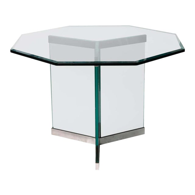 Leon Rosen Classic Design Chrome Base Dining Table for Pace Collection For Sale