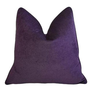"Ultra Violet Purple Velvet Feather & Down Pillow 24"" Square For Sale"