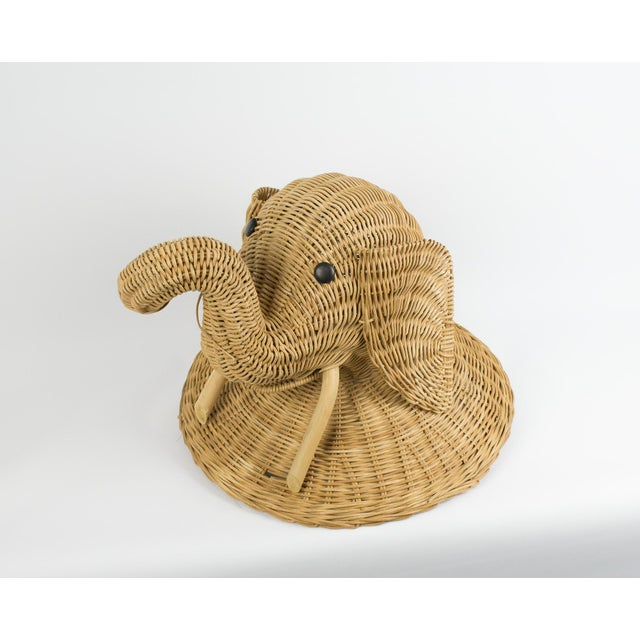 1970s Boho Chic Wicker Elephant Faux Taxidermy Wall Hanging For Sale - Image 9 of 9