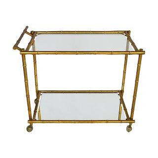 Gilt & Bamboo-Style Bar Cart For Sale